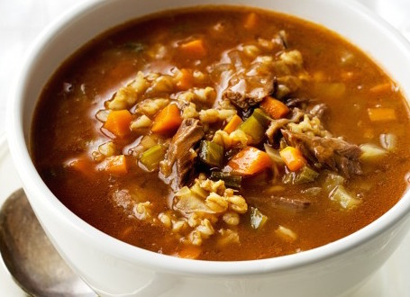 Warming and nourishing lamb shank and barley soup